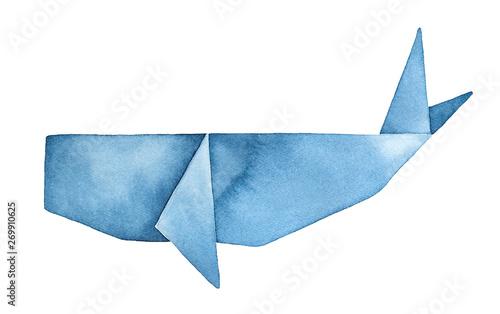 Fototapeta Blue Whale Origami watercolour illustration