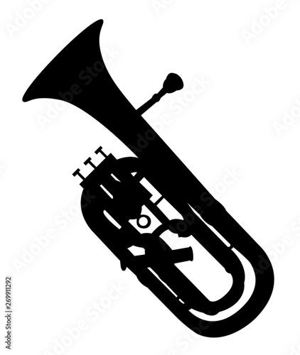 Silhouette noire de tuba sur fond blanc Canvas Print