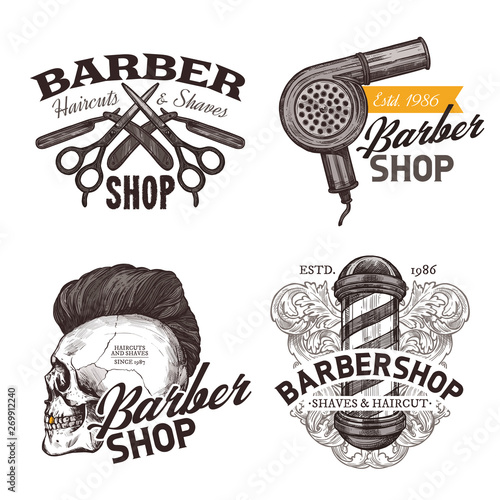 Fototapeta Set of vintage barbershop hand drawn labels. Sketch emblems and hipster trendy badges with typography obraz na płótnie