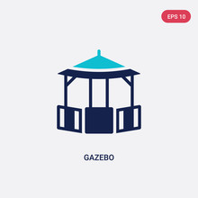 Two Color Gazebo Vector Icon From Architecture And City Concept. Isolated Blue Gazebo Vector Sign Symbol Can Be Use For Web, Mobile And Logo. Eps 10