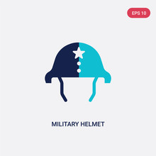 Two Color Military Helmet Vector Icon From Army And War Concept. Isolated Blue Military Helmet Vector Sign Symbol Can Be Use For Web, Mobile And Logo. Eps 10