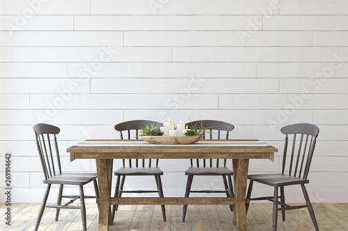 Obraz na plátně  Modern farmhouse dining-room. 3d render.