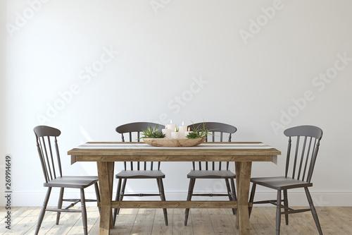 Valokuva  Modern farmhouse dining-room. 3d render.