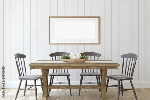 Fotografering  Modern farmhouse dining-room. 3d render.