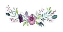 Watercolor Pansy Bouquet