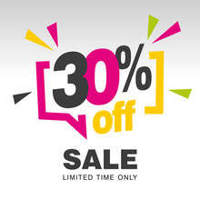 30 Percent Off Sale Modern Pink Yellow Colorful White Sticker Icon Banner