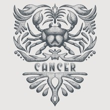 Vintage Cancer Zodiac Vector I...