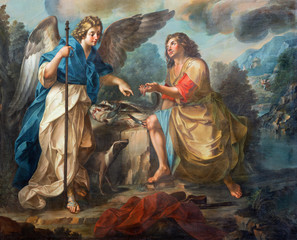 Panel Szklany Podświetlane Dla Kościoła CATANIA, ITALY - APRIL 7, 2018: The detail of painting of Tobias and archangel Raphael in church Chiesa di San Benedetto by Matteo Desiderato (1780).