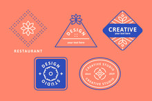 Blue Logo Design Set