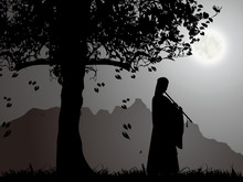 An Ancient Chinese Beauty Playing A Chinese Flute Under The Moonlight
