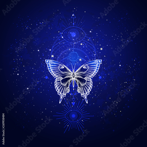 Photo sur Toile Papillons dans Grunge Vector illustration with hand drawn butterfly and Sacred geometric symbol against night starry sky. Abstract mystic sign.