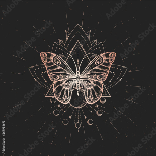 Photo sur Toile Papillons dans Grunge Vector illustration with hand drawn butterfly and Sacred geometric symbol on black vintage background. Abstract mystic sign.
