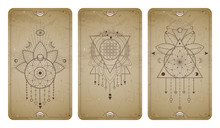 Vector Set Of Three Vintage Backgrounds With Geometric Symbols And Frames. Abstract Geometric Symbols And Sacred Mystic Signs Drawn In Lines.