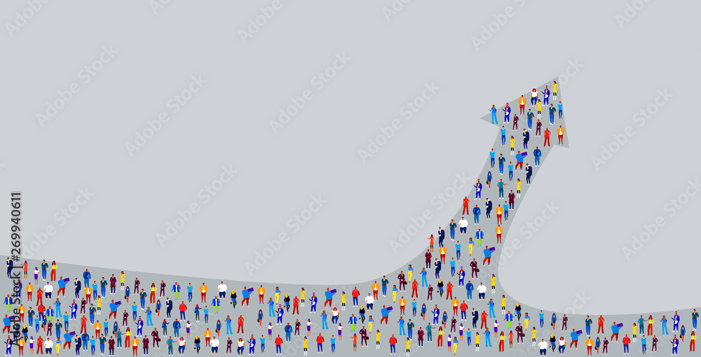 Fototapeta big crowd of businesspeople in arrow shape business people standing together leadership direction concept horizontal vector illustration