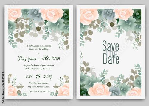 Greenery Wedding Invitation Template Eucalyptus