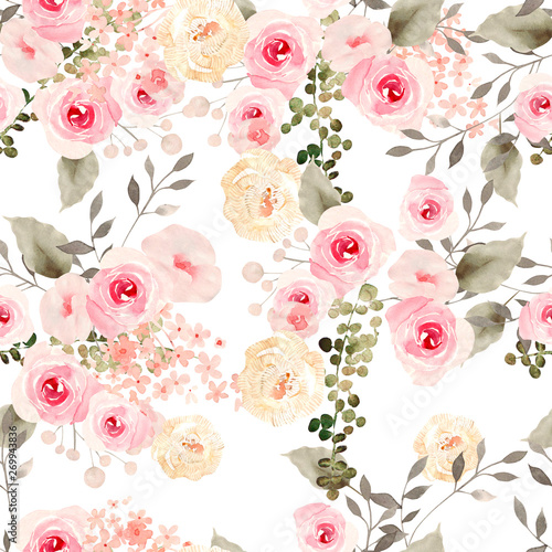 Foto auf AluDibond Künstlich Beautiful Watercolor seamless pattern with roses flowers.
