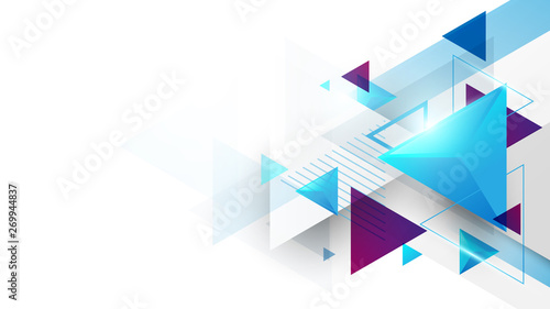 Cuadros en Lienzo Abstract geometric triangles futuristic technology background