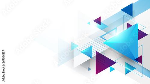 Fotografia Abstract geometric triangles futuristic technology background