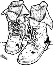 Vintage Biker Boots Illustration