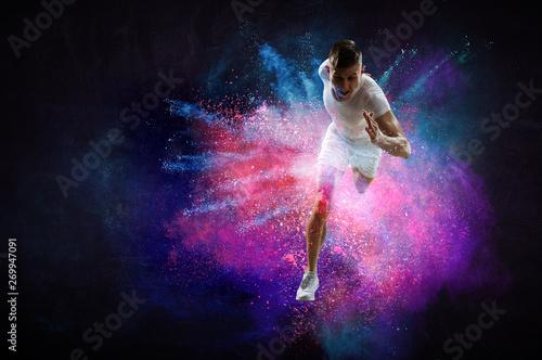 Fotografiet  Fast running young man. Mixed media