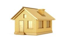 Real Estate Concept. Golden House. 3d Rendering