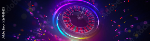 Illustration, Roulette wheel of casino element isolation banner. Fototapeta