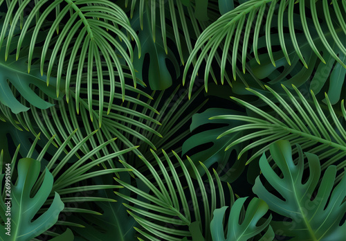 Türaufkleber Künstlich Branch palm realistic. Leaves and branches of palm trees. Tropical leaf background. Green foliage, tropic leaves pattern. vector illustration