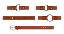 Brown Leather Belt With Button...
