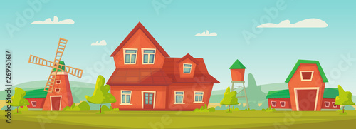 Agriculture. Farm rural landscape with red barn, house and ranch, water tower and haystack.