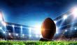 Leinwandbild Motiv Full night football arena in lights