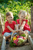 A child with vegetables in the garden  - 269952287