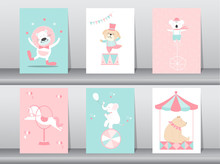 Set Of Cute Animals Poster,template,cards,animal,zoo,circus,Vector Illustrations