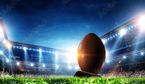 Full night football arena in lights Canvas Print