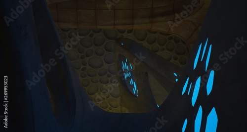 Abstract  Concrete Futuristic Sci-Fi interior With Blue And Yellow Glowing Neon Tubes . 3D illustration and rendering.