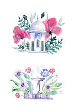 Arbor In Flowers. Fountain In ...