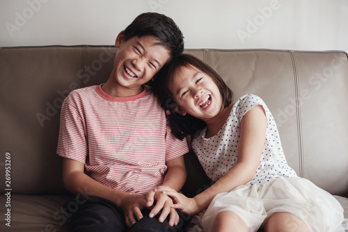 Asian little brother and sister at home , Happy children portrait Poster Mural XXL