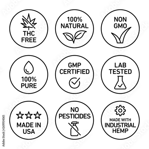 Fototapeta CBD oil icons set including THC free, 100% natural, non GMO, 100% pure, GMP certified, lab tested,  made in USA, no pesticides, made with industrial hemp - Vector  obraz