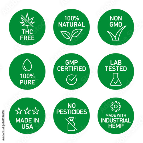 CBD oil icons set including THC free, 100% natural, non GMO, 100% pure, GMP certified, lab tested,  made in USA, no pesticides, made with industrial hemp - Vector  Wall mural
