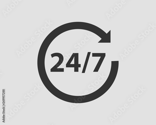 24/7 icon vector. 24 hour service clock. Fototapet