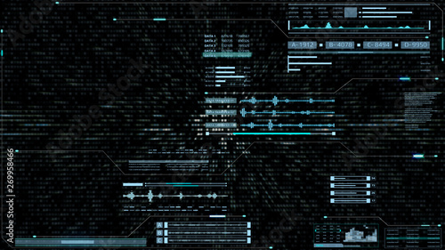Valokuva  HUD Futuristic Spin Crosshair Gadget Data Transfer Motion Screen Display Panel