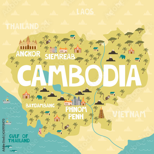 Illustrated map of Cambodia with cities and landmarks. Editable vector illustration Fototapete