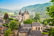 canvas print picture - Durbuy, Walloon city in the Belgian province of Luxembourg. Beautiful medieval castle in the city centre.