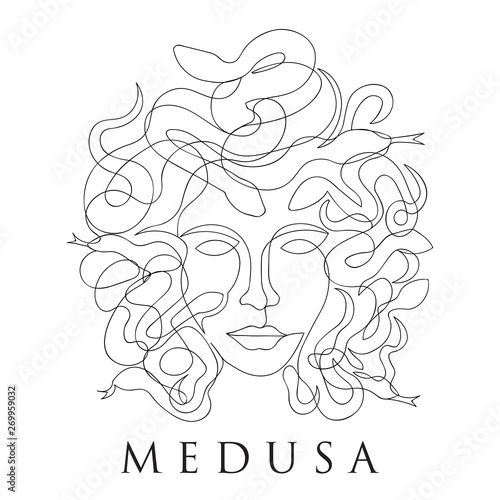 medusa face continuous single line style - Thin Line Wallpaper Mural