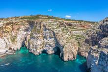 Blue Grotto In Malta, Aerial V...