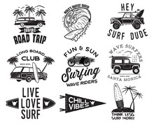 Vintage Surfing Graphics Logos Set For Web Design Or Print. Surfer Badges Templates. Surf Emblems. Summer Surfboard, Palms Elements. Outdoors Activity - Boarding On Waves. Vector Hipster Insignia.