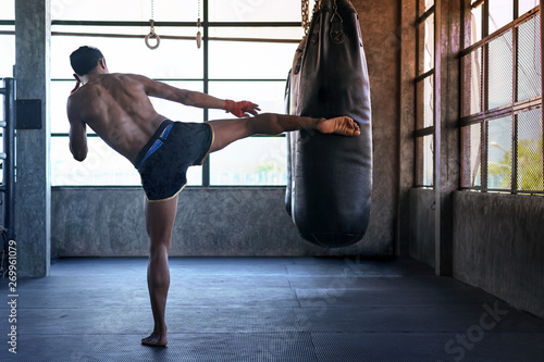 Fotografia, Obraz Fighter is practicing in boxing gym, Thai boxing, Martial arts