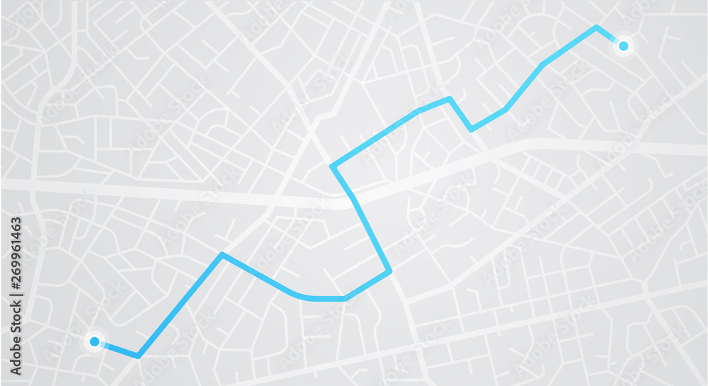 Fototapeta City map navigation. GPS navigator. Distance. Point marker icon. Top view, view from above. Abstract background. Cute simple design. Flat style vector illustration.