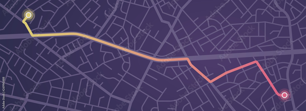 Fototapety, obrazy: City map navigation. GPS navigator. Distance. Point marker icon. Top view, view from above. Abstract background. Cute simple design. Flat style vector illustration.