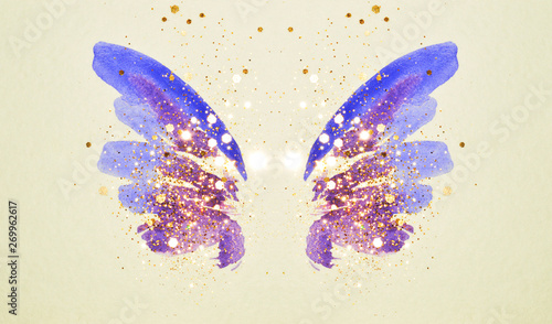 Spoed Foto op Canvas Vlinders in Grunge Glitter and glittering stars on abstract pink and blue watercolor wings in vintage nostalgic colors.