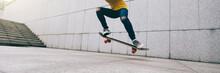 Woman Skateboarder Legs Skateboarding At City